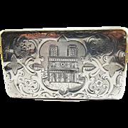 SO RARE French Napoleon III Sterling Silver Snuff Box, Notre Dame Motif, 67.82 Grams, c.1845!