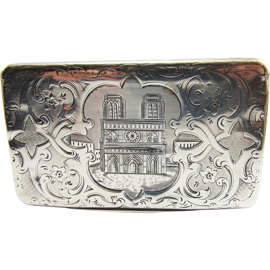 SO RARE French Napoleon III Sterling Silver Snuff Box, Notre Dame Motif, 67.82 Grams, c.1845!