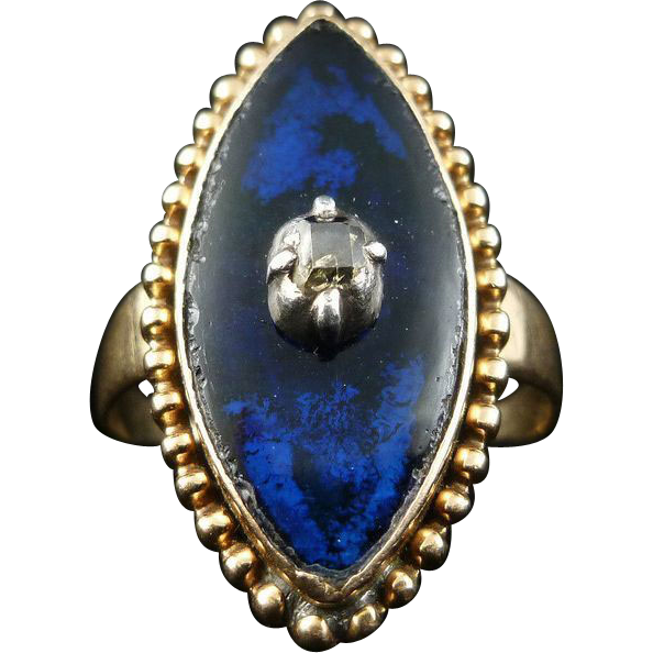 GORGEOUS Georgian Blue Enamel/Table-Cut Diamond/18k Ring, 4.9 Grams, c.1790!
