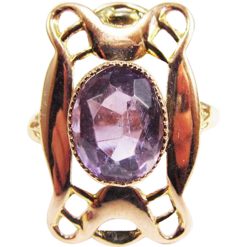 SPLENDID Hand-Wrought Art Nouveau Amethyst/18k Rose Gold Ring, Full Hallmarks, c.1904!