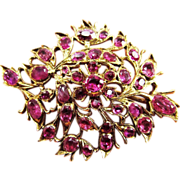 MASTERPIECE Victorian Anglo-Indian 7.49 Ct. TW Ruby/14k Brooch, c.1850!