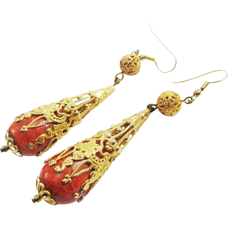 "LAVISH 3 1/4"" Late-Georgian Sponge Coral/12k Drop Earrings, 18.62 Grams, c.1830!"