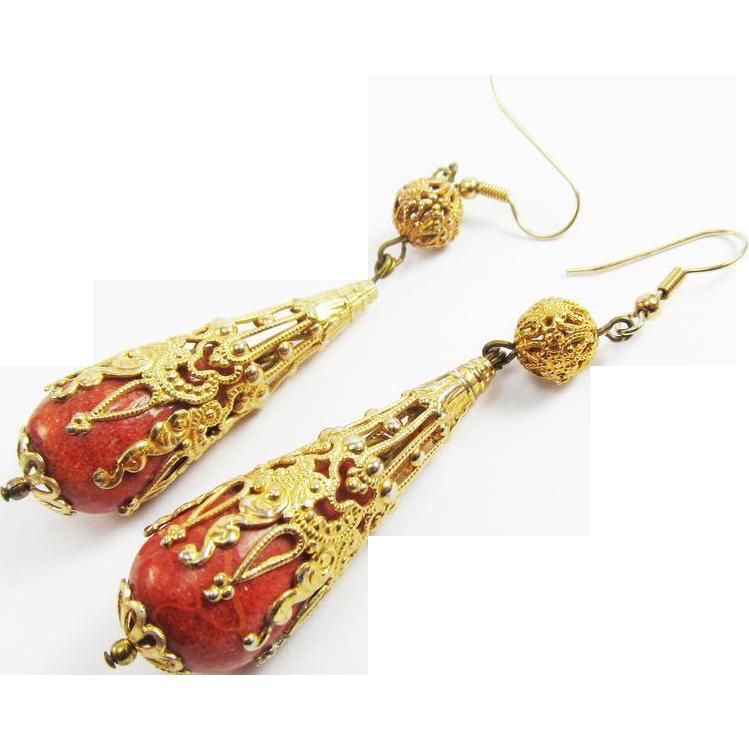"LAVISH 3 1/4"" Late-Georgian Sponge Coral/12k Drop Earrings, 18.62 Grams, c.1830!"
