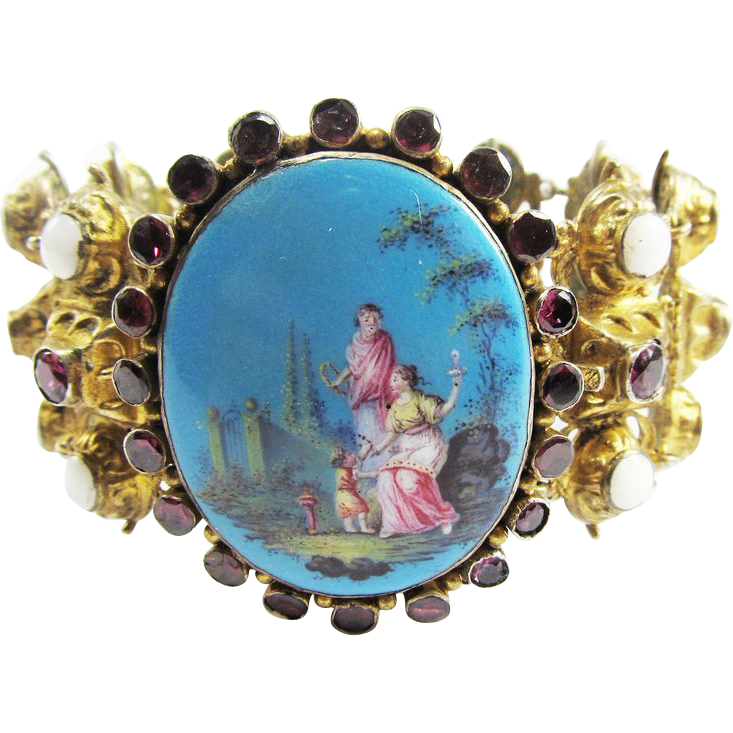 MASTERPIECE Georgian Continental Enamel/Opal/Garnet/Silver Gilt Bracelet, c.1825!