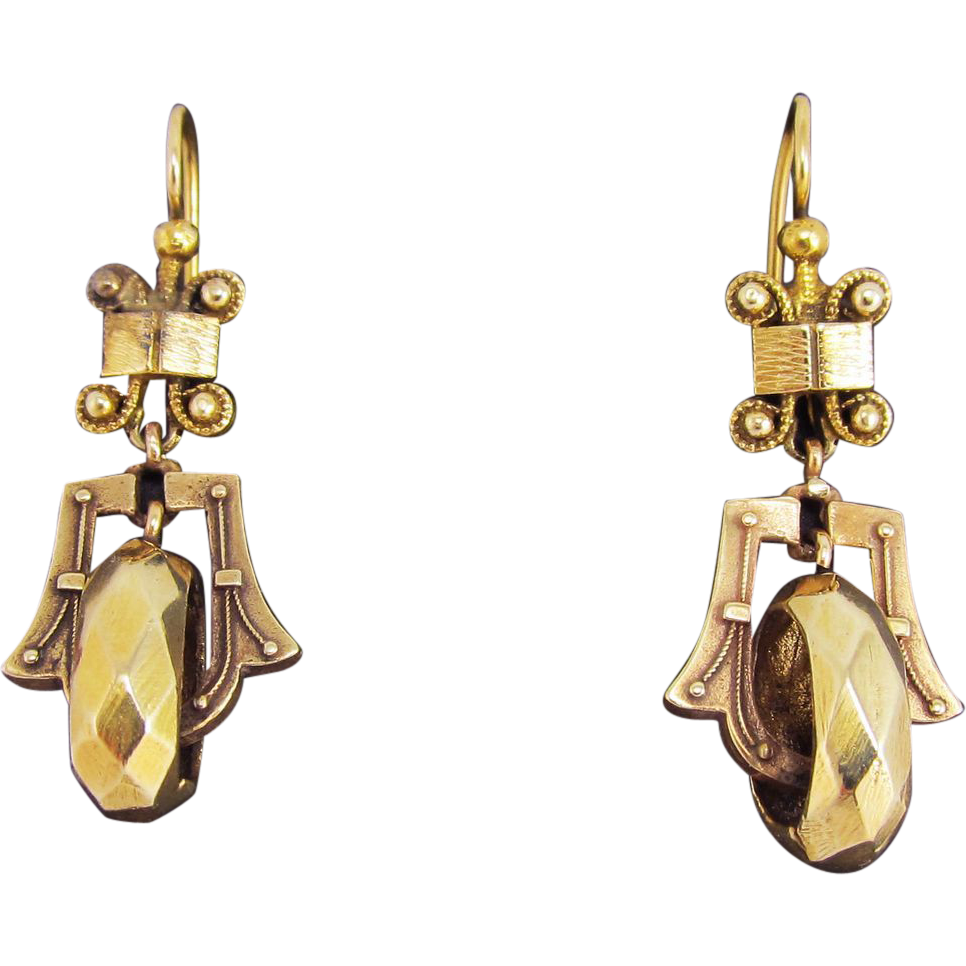 EXQUISITE American Victorian 14k Fancy Drop Earrings, 6.12 Grams, c.1875!