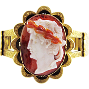 MASTERPIECE Agate Portrait Cameo of Augustus Caesar in Electroplated Gold Bracelet, Exhibition Piece? c.1845!