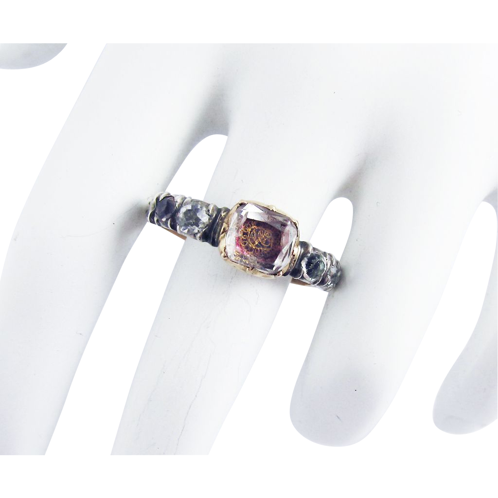 GO FOR BAROQUE! Stuart Crystal/Rock Crystal/15k/Sterling Ring, c.1710!
