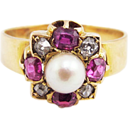 TOP-QUALITY Victorian .92 Ct. TW Ruby/Diamond/Pearl/18k Ring, Fully Marked, c.1876!