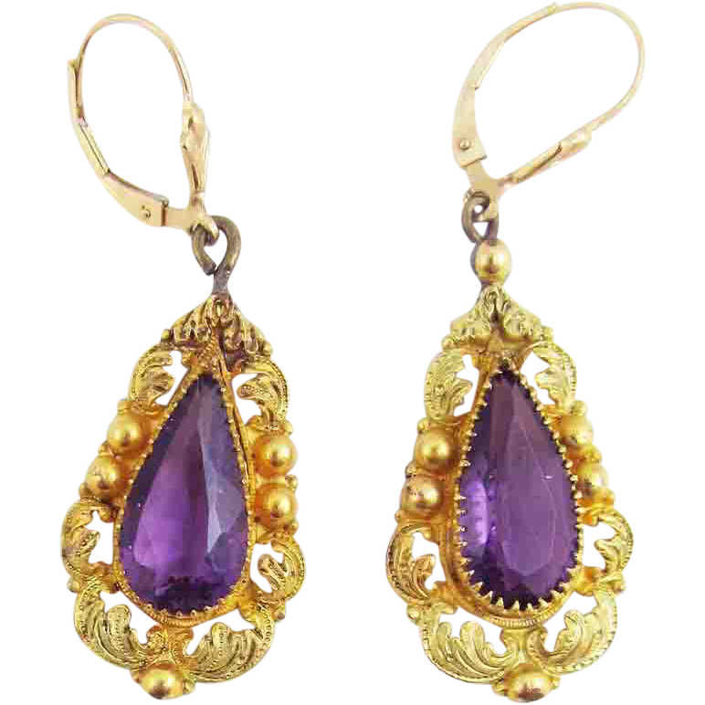 SPECTACULAR Late-Georgian Two-Color Pinchbeck/Amethyst Paste/14k Earrings, c.1830!