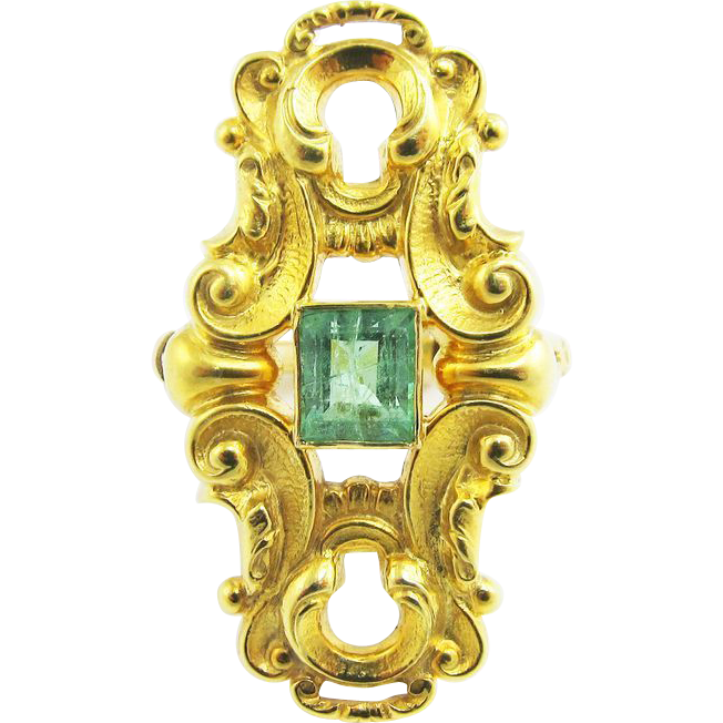 "MAGNIFICENT Late Victorian .80 Ct. Columbian Emerald/15k ""Keyhole"" Dress Ring, 5.51 Grams, c.1895!"