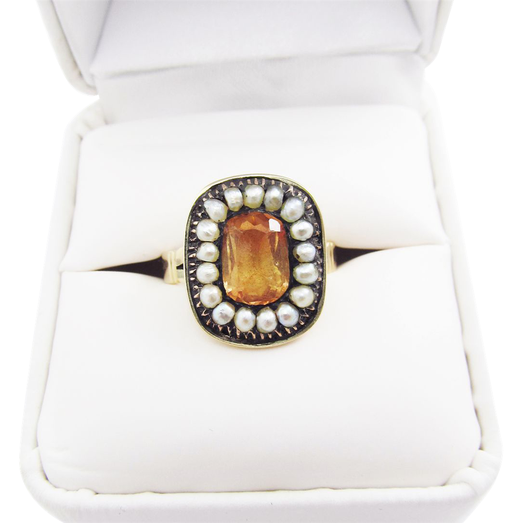 TIMELESS Georgian Topaz Paste/Natural Pearl/9k Ring, c.1810!
