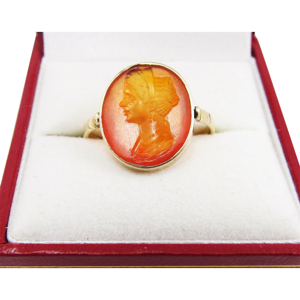 EXQUISITE Georgian Carnelian Intaglio of Empress Julia Flavia Titus in 9k Swivel Ring, c.1805!