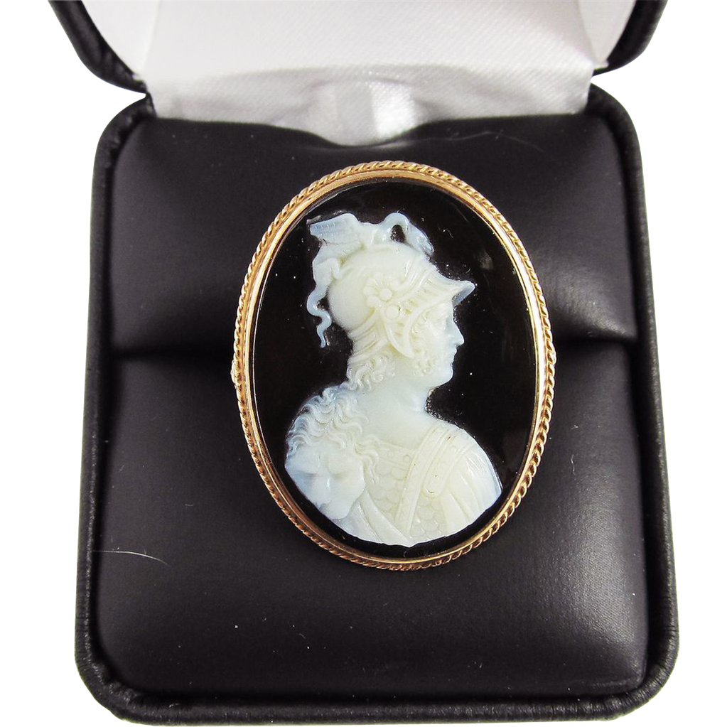 MUSEUM-WORTHY Unisex Victorian Hardstone Cameo Portrait of Prince Albert as Mars Set in 14k Ring, c.1855!