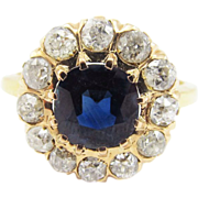 OUTSTANDING Victorian 4.05 Ct. TW Unheated Sapphire/OMC Diamond/18k Ring, c.1895!