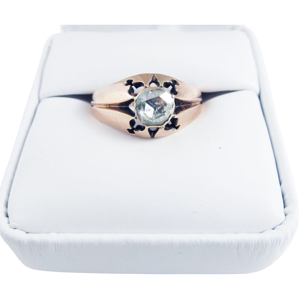 FABULOUS Unisex .80 Ct. Rose-Cut Diamond Solitaire/12k Ring. c.1875!
