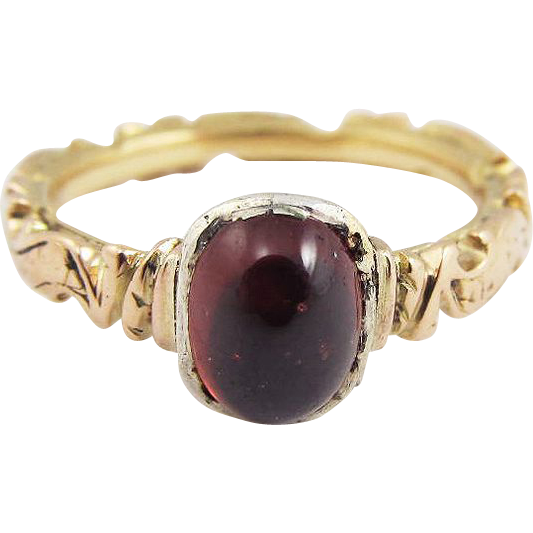 STUNNING Mid-Georgian Garnet/18k Memorial Ring, 4.66 Grams, Dated 1753!