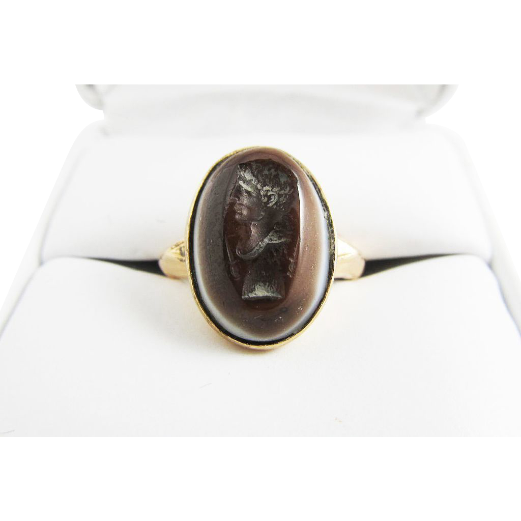 IMPORTANT French Revolutionary Agate Intaglio/14k Ring of Brutus, c.1790/1900!