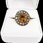 REGAL Unisex 4.45 Ct. Imperial Topaz/Seed Pearl/15k Ring, 8.25 Grams, c.1820!
