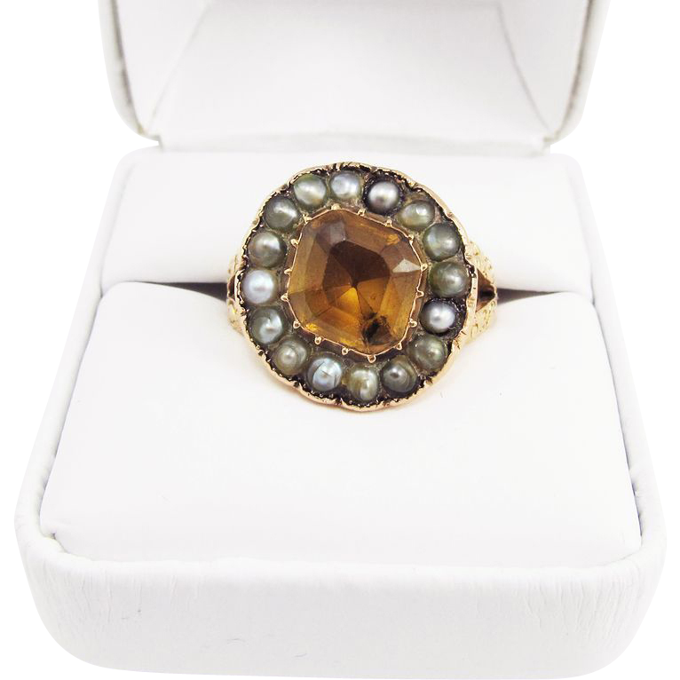 REGAL Unisex 4.45 Ct. Imperial Topaz/Seed Pearl/15k Ring, 8.25 Grams, c.1820!