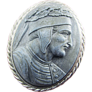 MAGNIFICENT  Victorian Carrara Marble Cameo of Dante in Sterling Brooch, c.1860!