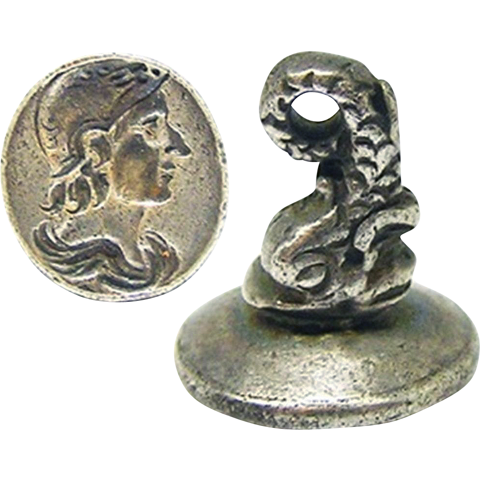 OUTSTANDING Stuart Sterling Silver Fob Seal/Pendant, Bust of King William III as Mars, c.1695!