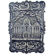 HIGHLY HISTORIC Sterling Calling Card Case with Early US Capital Building, Nathaniel Mills & Co., c.1845!