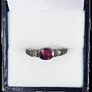UNTOUCHED Baroque George II Garnet/Rock Crystal Sterling/15k Ring, c.1730!