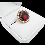 INCREDIBLY PRISTINE Stately 6.19 Ct. Georgian Garnet/Seed Pearl/15k Ring, c.1805!