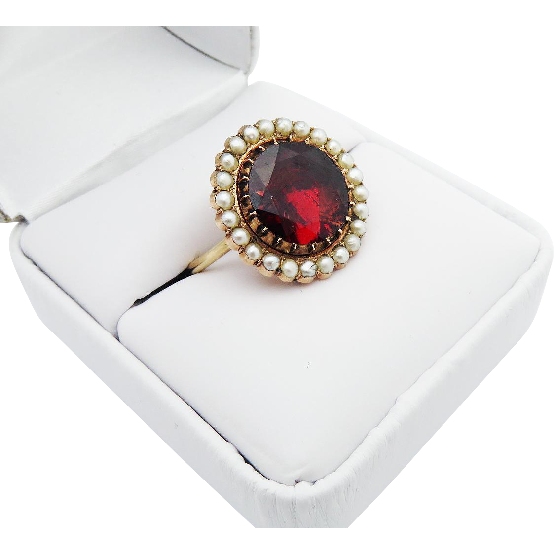 INCREDIBLY PRISTINE Stately 6.19 Ct. Georgian Garnet/Seed Pearl/15k Ring, c.1805!
