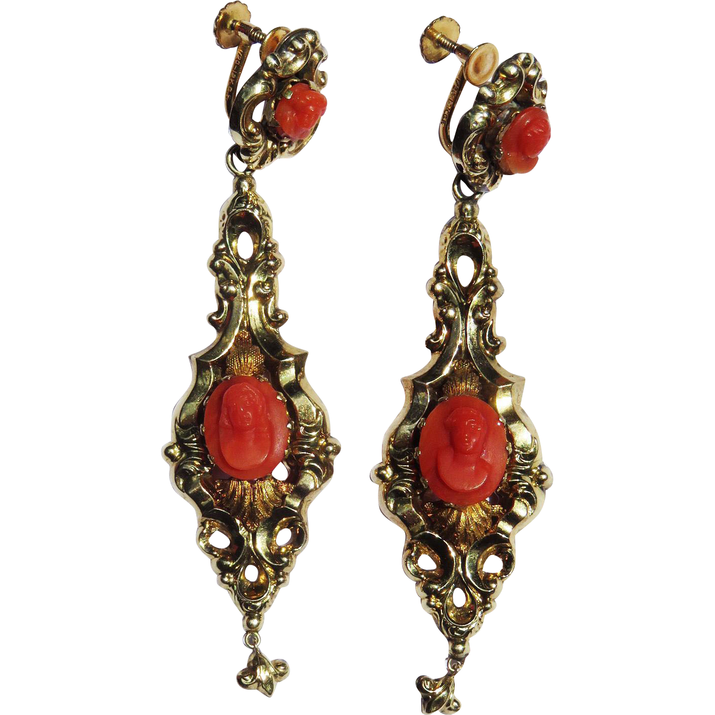 "MUSEUM-WORTHY 3"" Late Georgian Sardinian Coral Cameo/15k Drop Earrings, c.1835!"