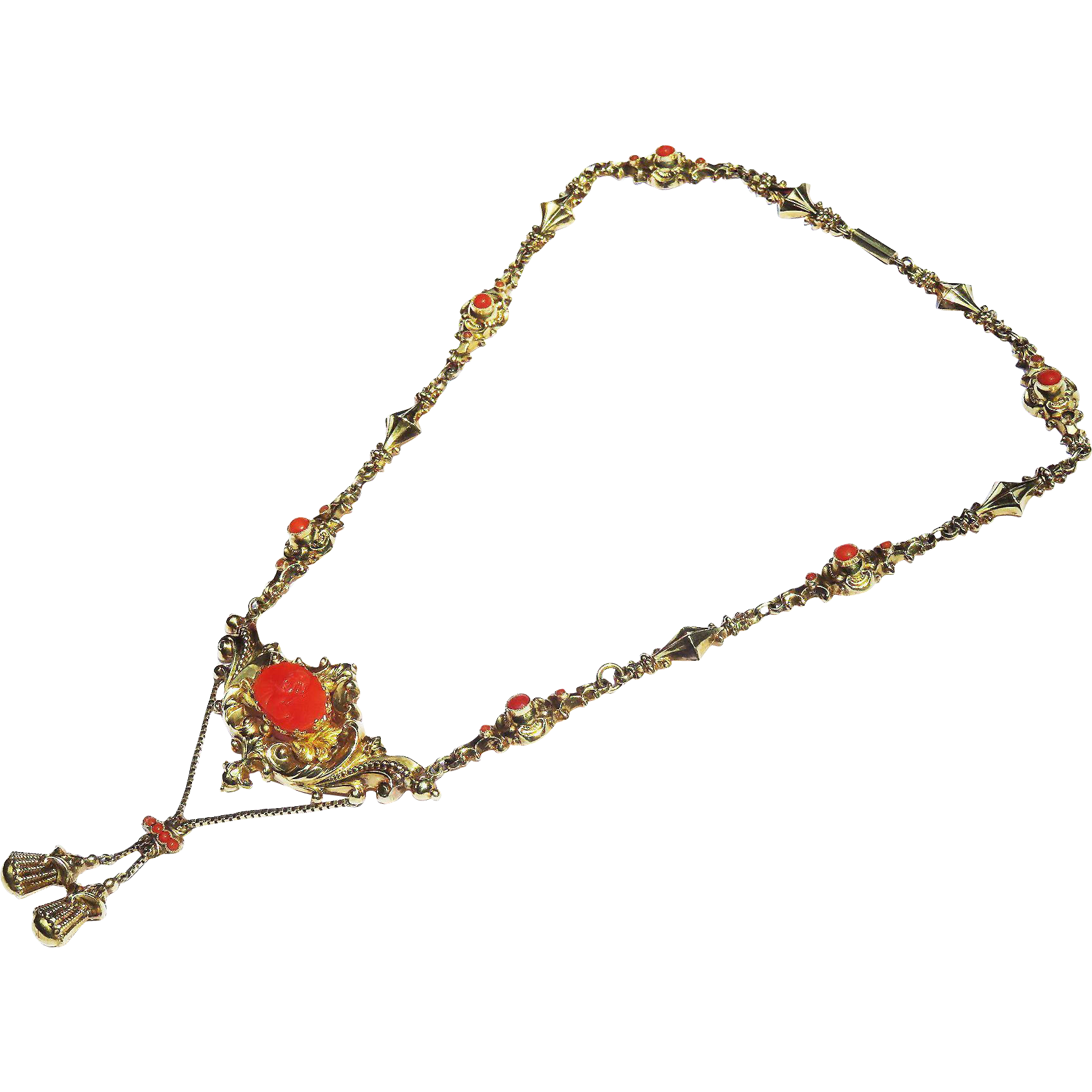 MUSEUM-QUALITY Late Georgian Sardinian Coral Cameo & Cabochon/15k Necklace, c.1835!