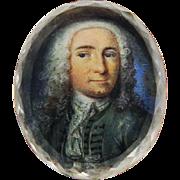 MASTERPIECE Stuart Crystal Miniature on Vellum of an Aristocratic Gentleman in Original Silver Gilt Slide, c.1710!