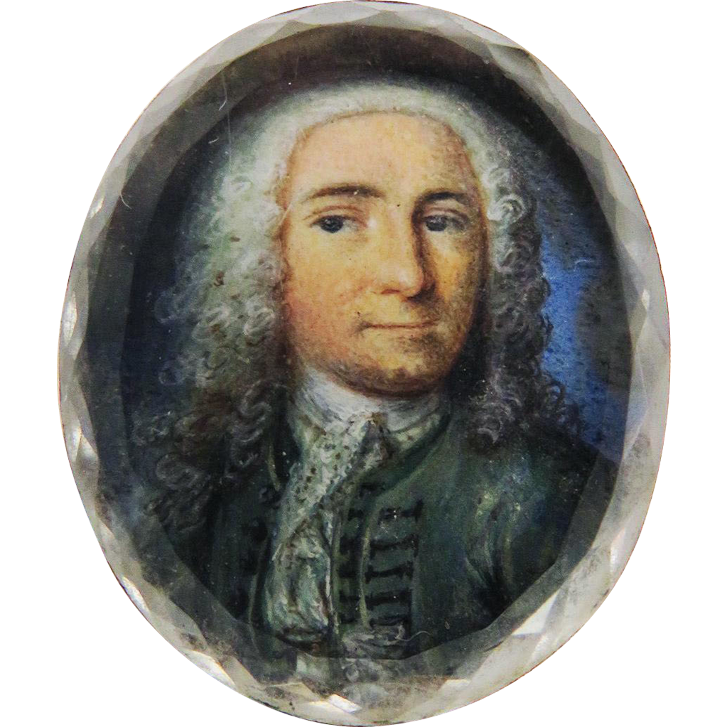 MASTERPIECE Stuart Crystal Miniature on Vellum of an Aristocratic Gentleman in Original Silver Gilt Slide, c.1710!