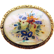 GORGEOUS XL Oil on Mother of Pearl Floral Painting Set in Silver-Gilt Brooch, c.1840!