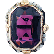DELECTABLE 14.23 Ct. Siberian Amethyst/10k Yellow & White Gold Dress Ring,c.1920!