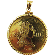 """HIGHLY RARE George III """"Recovery from Madness"""" Medal by Charles James set in 14k Pendant Frame, c.1789!"""