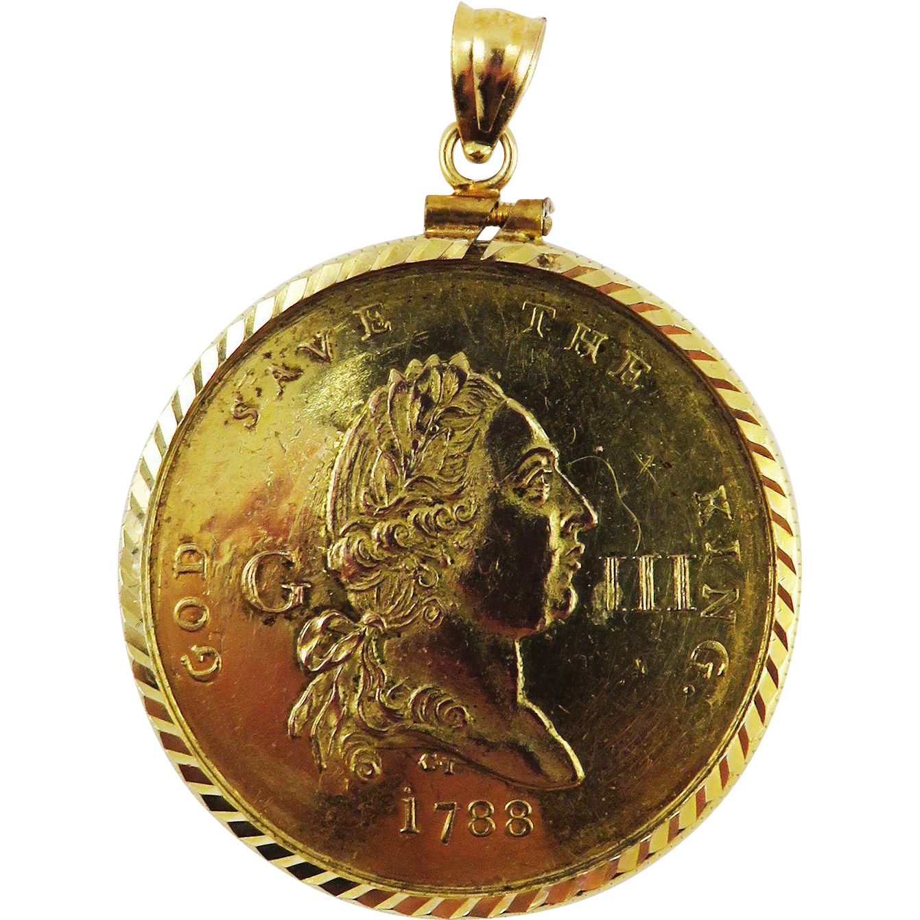 "HIGHLY RARE George III ""Recovery from Madness"" Medal by Charles James set in 14k Pendant Frame, c.1789!"