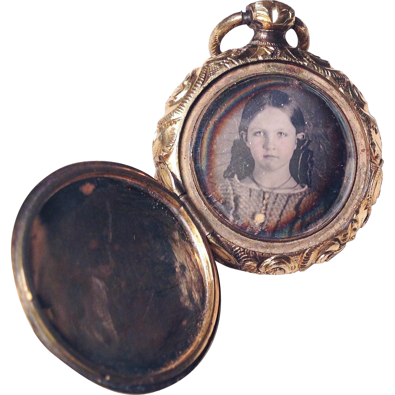 SUBLIME American Early Victorian 14k & Gold Filled Double Daguerreotype Locket, Boy and Girl, c.1850!