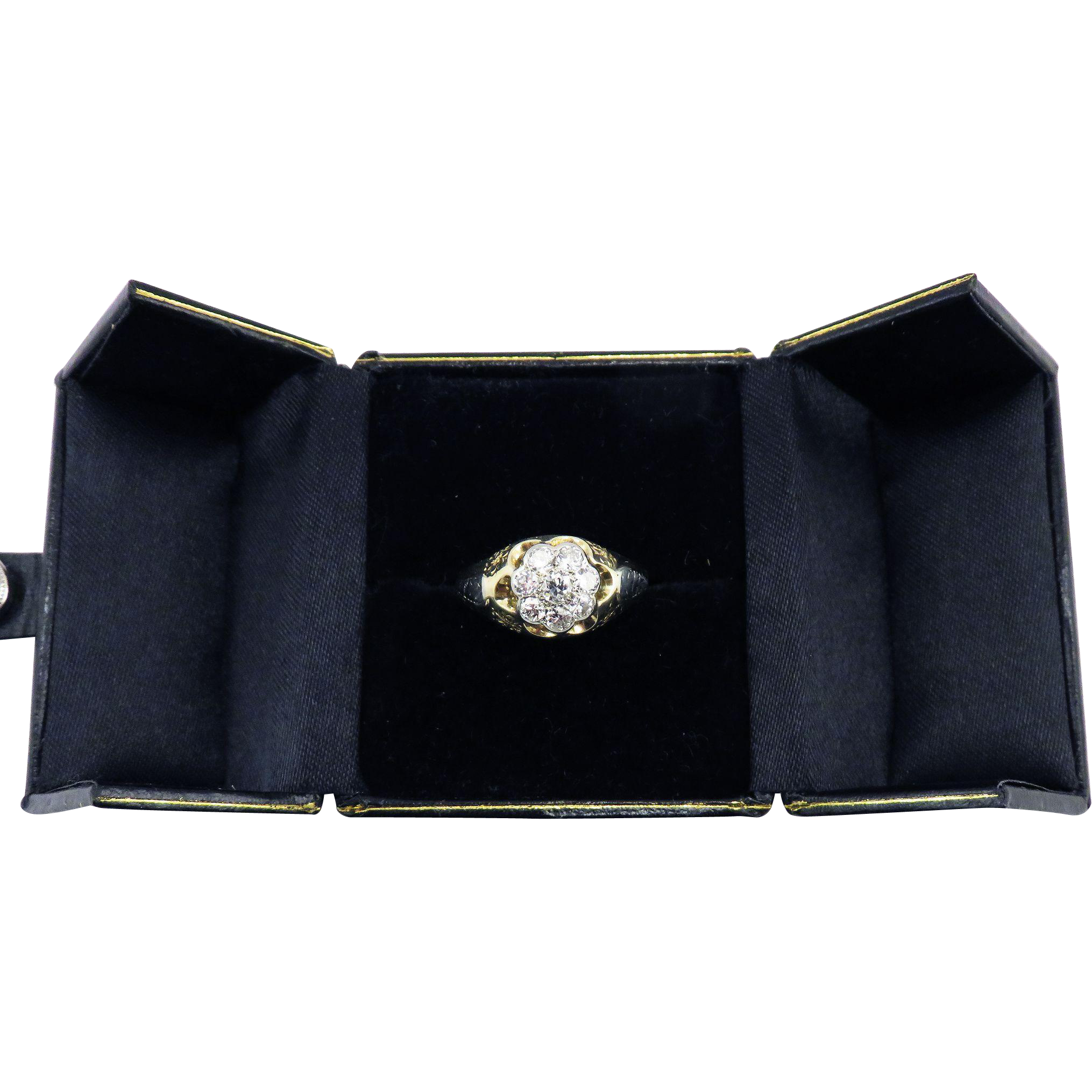GORGEOUS Unisex 1.25 Ct. OEC TW Edwardian Diamond Cluster Ring in Sterling & 14k Gold, 5.89 Grams, c.1910!