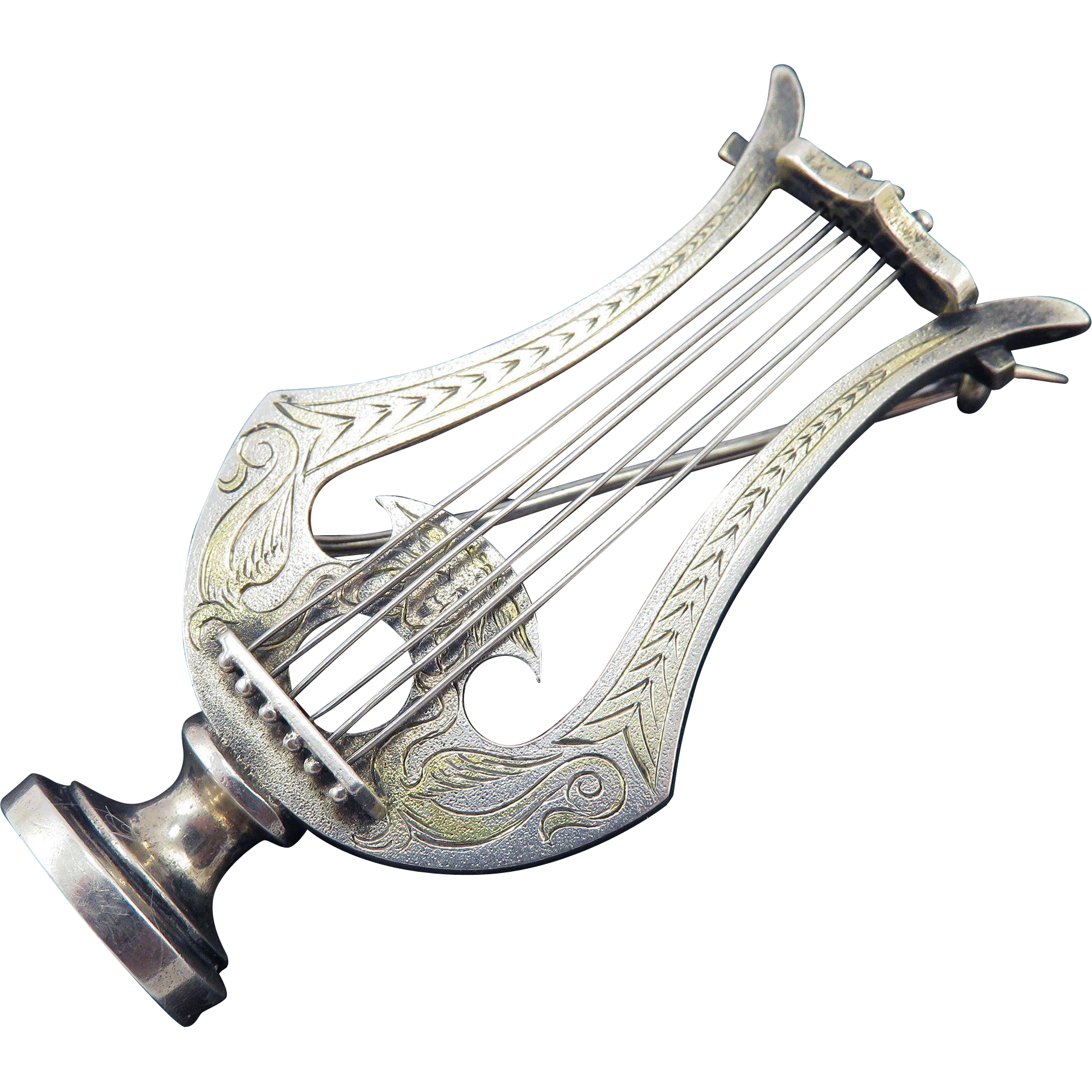 PRISTINE XL Victorian Sterling/Silver Gilt Engraved Lyre Brooch w/Zephyrus, c.1870!