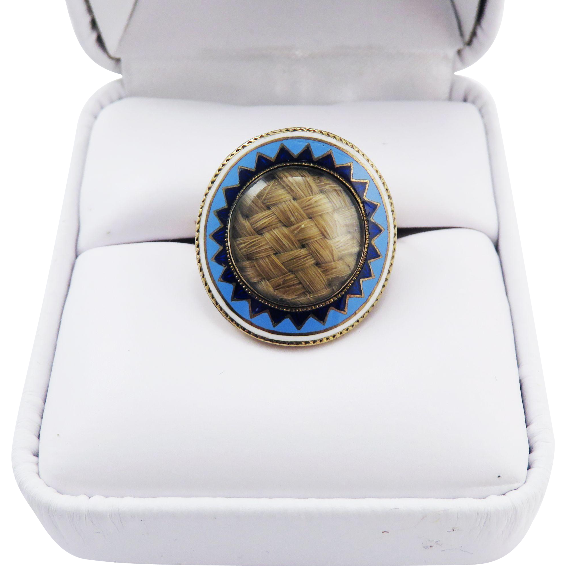 IMPORTANT Federal American Hair Locket/10k Lover's Ring w/Blue & White Enamel, c.1800!