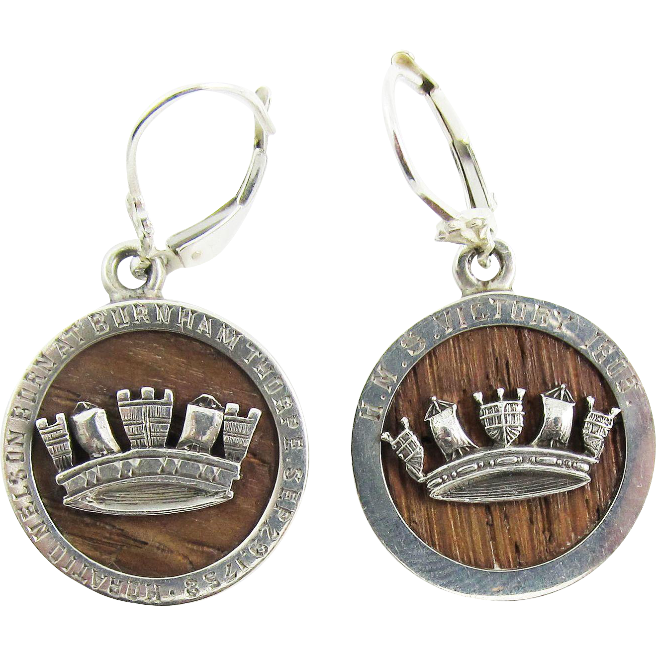 IMPORTANT Pair of Sterling Silver Earrings Set with Timber from the HMS Victory, Lord Nelson/Naval Interest, c.1765/1905!