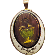 SO RARE Georgian Eglomise Mourning Locket for an Unmarried Person, Pliny's Doves Motif, c.1800!