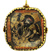 INSPIRATIONAL Double-Sided 22k Gold Reliquary, Eglomise Mary and Jesus, c.1675!