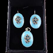 DELIGHTFUL Regency Robin's Egg Blue/Marcasite/Sterling Demi-Parure, Earrings & Pendant, c.1820!