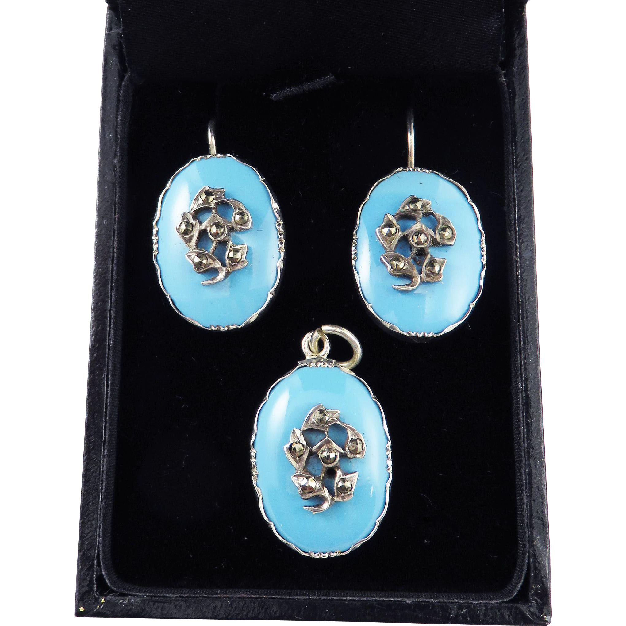 DELIGHTFUL Regency Robin's Egg Blue/Marcasite/Sterling Demi-Parure, Earrings & Pendant, c.1820!