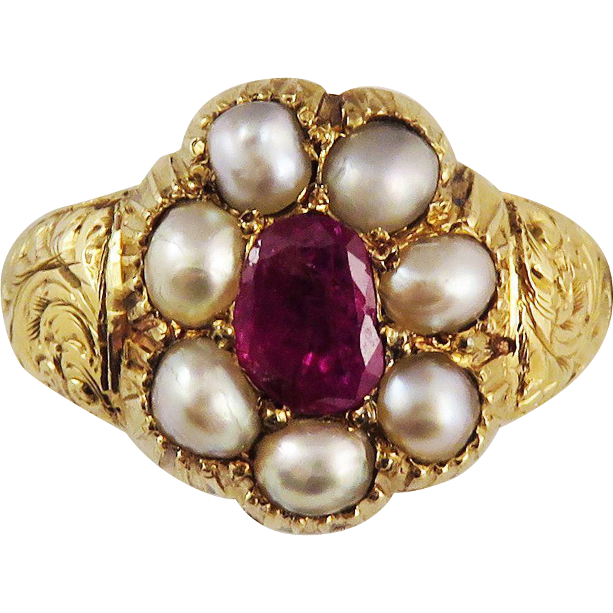 TOP QUALITY Late Georgian Ruby/Pearl/20k Gold Ring, 6.01 Grams, c.1830!