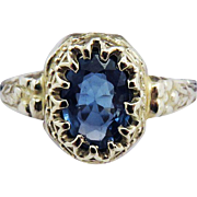 SO SWEET .74 Ct. Natural Ceylon Sapphire Solitaire/10k Ring, c.1925!