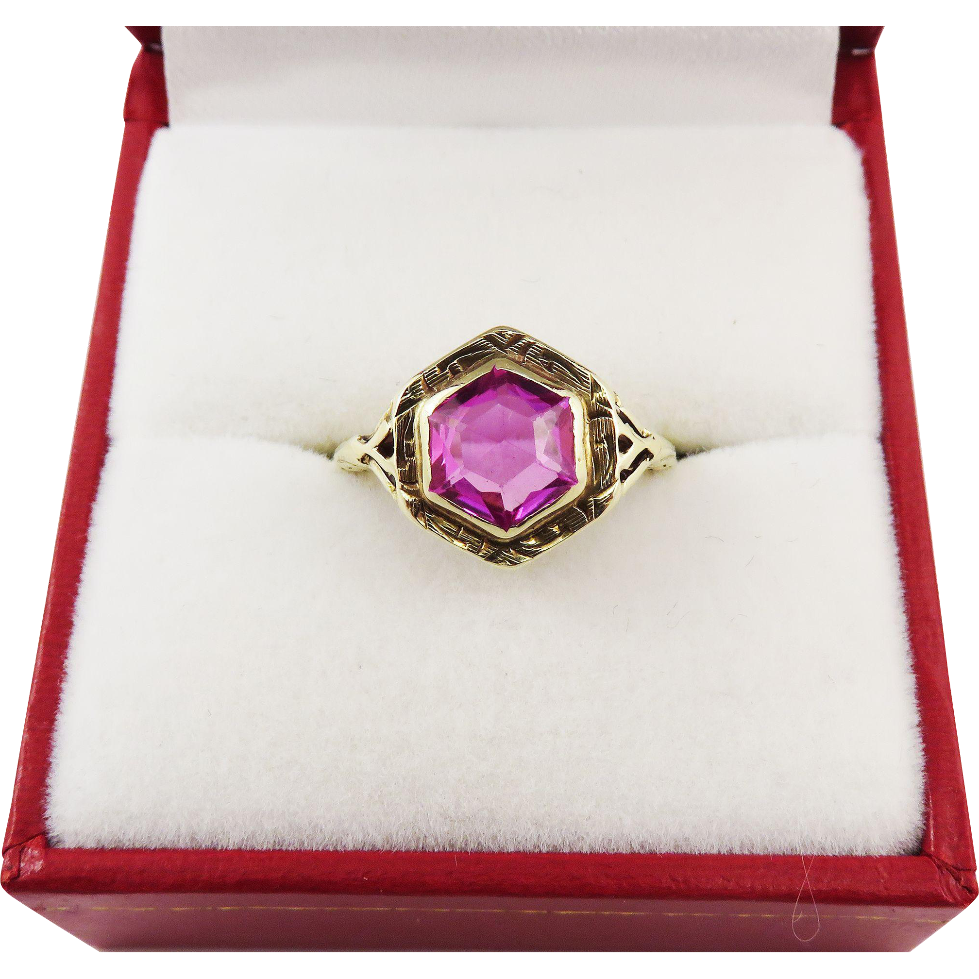JAZZ AGE Art Deco 2 1/2 Ct. Pink Lab Sapphire Solitaire/14k Ring, c.1925!