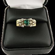 TRULY WONDERFUL Unisex Estate .80 Ct. TW Colombian Emerald/Rose-Cut Diamond/14k Ring, 6.52 Grams, c.1960!